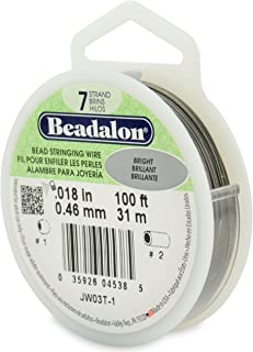 "Beadalon 7-Strand 0.018"" (0.46 mm) 100 ft (30.5 m) Bright Bead Stringing Wire, Silver"