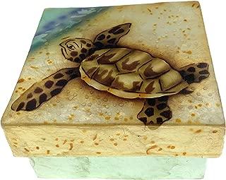 Kubla Crafts Baby Sea Turtle Capiz Shell Keepsake Box, 3 Inches Square
