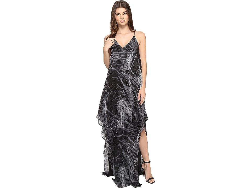 Halston Heritage Sleeveless Cami Flowy Printed Gown (Black Reflections Print) Women