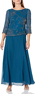 J Kara Women's Asymetrical Long Beaded Dress