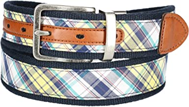 Nautica Men's Fabric Reversible Madras Belt, 34, Madras/Navy