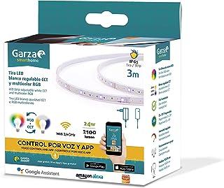 Garza ® Smarthome - Tira luces LED inteligente wifi de 3 Metros, luz blanca neutra regulable con cambio de intensidad, temperatura y color. Programable, compatible con Amazon Alexa y Google Home.