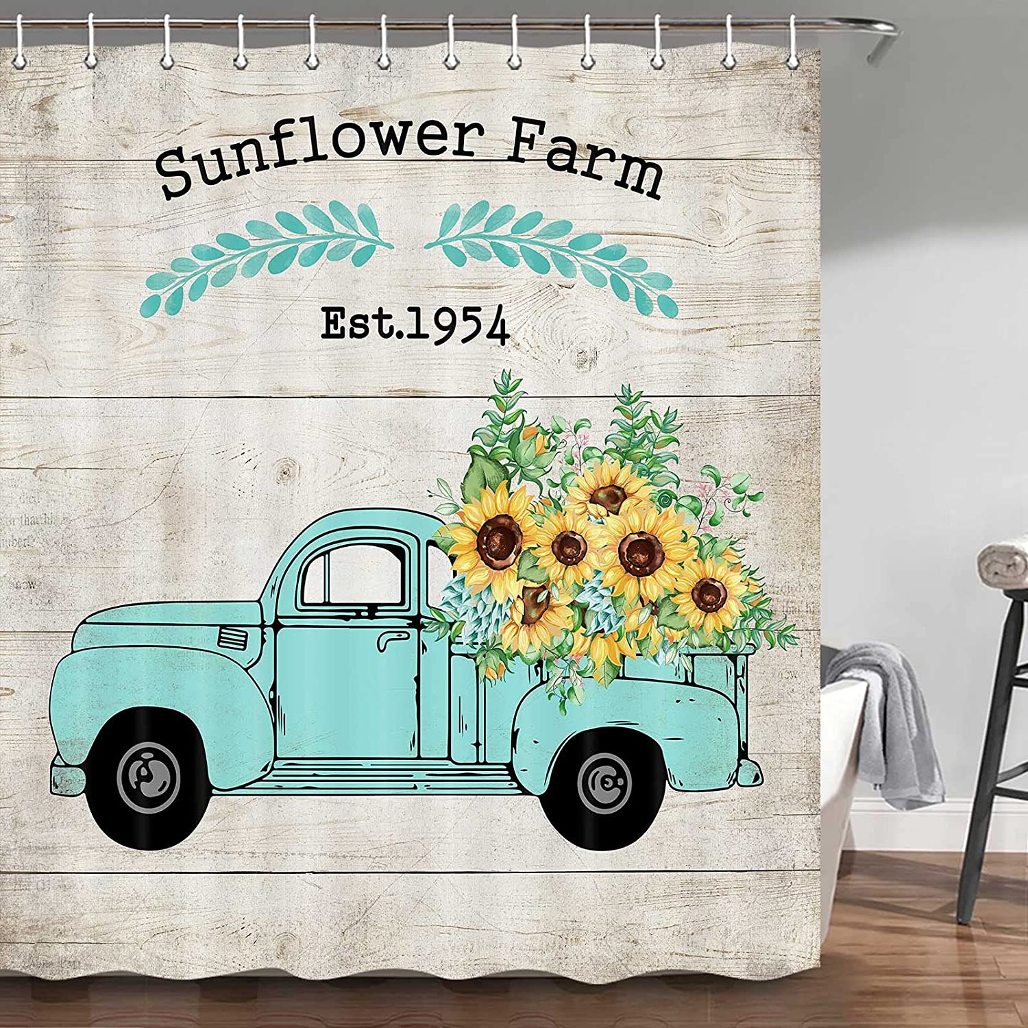 Sunflower Shower Curtain Yellow Challenge the lowest price Teal Rust on Truck Large discharge sale