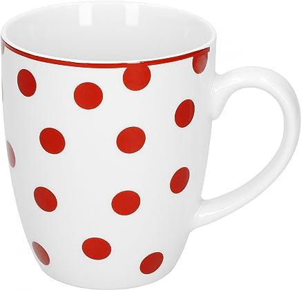 Preisvergleich für Van Well Geschirr Serie Funny Porzellan | weiß mit roten Punkten | Kaffeebecher 370ml