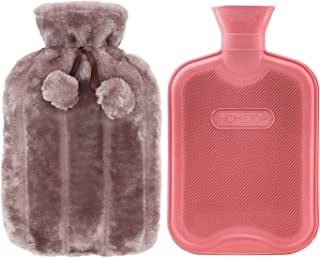 Premium Classic Rubber Hot Water Bottle and Luxurious Faux Fur Plush Fleece Cover w/Pom Pom Decor (Nude Pink)