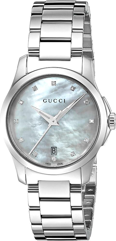 Gucci , orologio per donna , in acciaio con quadrante in madreperla bianca con incastonati 12 diamanti YA126542