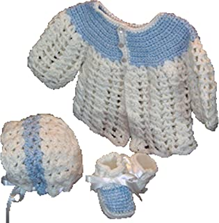 Sweater With Matching Hat & Booties - Handmade - Size 0-6 Months