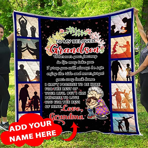 Personalized Name To My Grandson I Love You Quilt Pattern Blanket Customized Custom Christmas Birthday Graduation Quilted Grandkids Gifts From Grandma Grandmother Mimi Nana Granny Grammy Memaw Mamaw