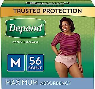 بستن لباس زیر بی اختیاری FIT-FLEX برای زنان ، یکبار مصرف ، حداکثر جذب ، M ، سرخ شدن ، 56 تعداد