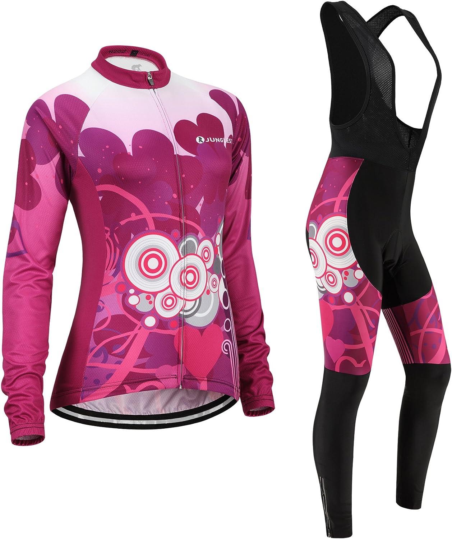 Cycling jersey Set, Maillot de Cyclisme Women Femme Long sleeve Manches Longues(S5XL,option bib Cuissard,3D pad Coussin) N202