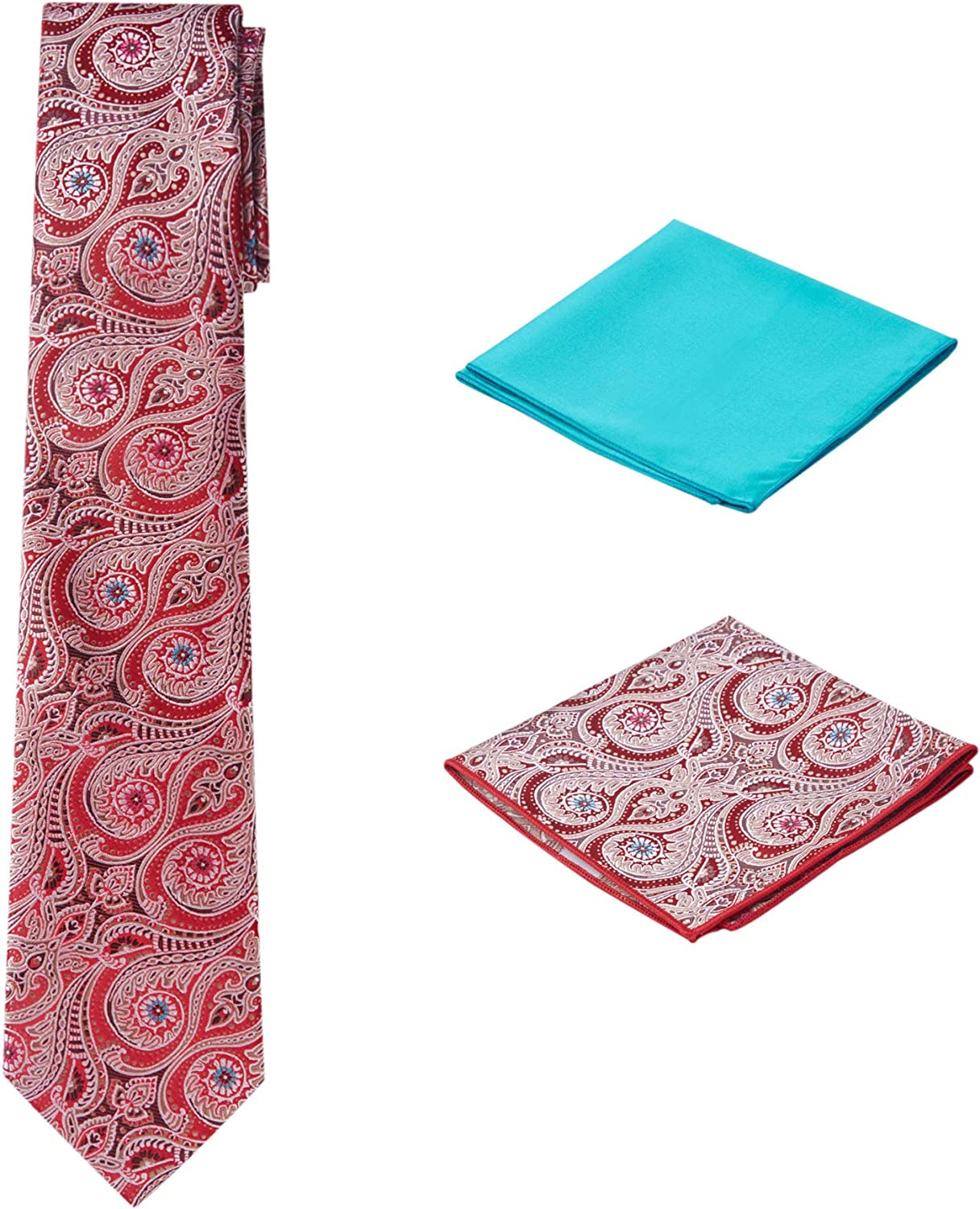 Men's Woven Paisley Regular Length Neck Tie with 2 Handkerchief Pocket Squares Hanky Set - Red Teal Blue