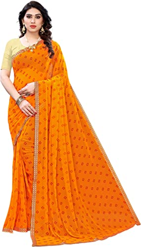 Yashika Women s Chiffon Saree With Blouse Piece BANDHANI RIMZIM Free Size