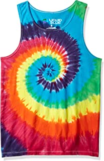 Liquid Blue Rainbow Spiral Tie Dye Tank Top