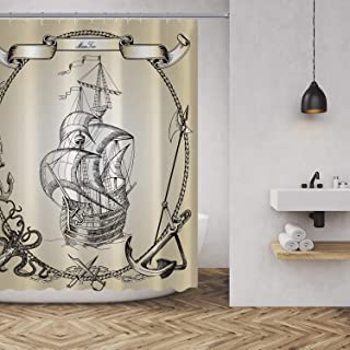 MuaToo Shower Curtain Old Caravel Vintage Pirate Sailboat Painting Print Waterproof Polyester Fabric Bathroom Decor Sets with Hooks 72 x 72 Inches