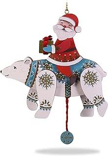 Hallmark Keepsake Christmas Ornament 2018 Year Dated, Pull-String Polar Bear and Santa, Wood Polarbear