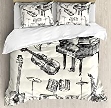 Jazz Music Bedding Sets 4 Pieces Duvet Cover Luxury Soft Flat Sheet Set Quilt Cover Bedspread Decorative Pillow Shams - Collection of Musical Instruments Sketch Style Art with Trumpet Piano Guitar