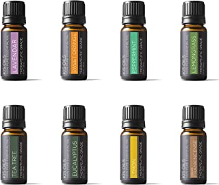 Aromatherapy Top 8 100% Pure Therapeutic Grade Basic Sampler Essential Oil Gift Set..