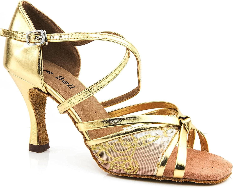 New Blue Bell Shoes Handmade Women's Ballroom Salsa Wedding Competition Dance Shoes Style: Beau 3.5