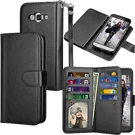 Galaxy Sky / J3 V / J3 (2016) / J36V / Galaxy Sol/Amp Prim/Express Prim Wallet Case, ID Credit Card Slots Holder PU Leather Folio Flip Cover [Detachable Magnetic Hard Case] - Black