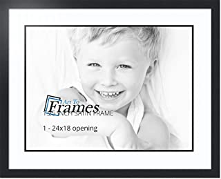 ArtToFrames Collage Photo Frame Double Mat with 1 - 18x24 Openings and Satin Black Frame