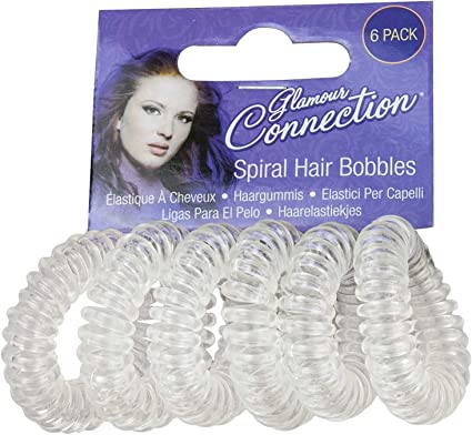 PACK OF 6 x GIRLS WOMENS SPIRAL PLASTIC ELASTIC HAIR BANDS BOBBLES STRETCHY