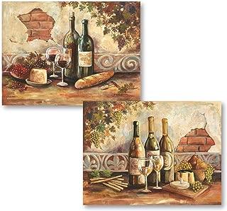 Gango Home Decor Bountiful Wine   Rustic Italian Wine Cheese Grapes Vineyard; Two 14x11in Poster Prints
