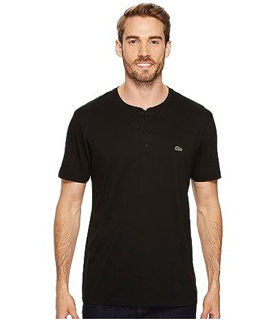 Lacoste Short Sleeve Henley Jersey Pima Tee (Black) Men
