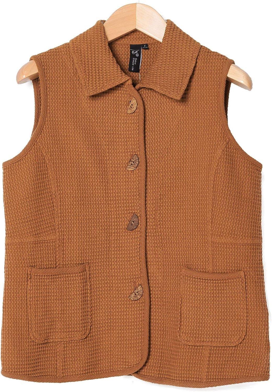 Focus Fashion Women's Cotton Waffle Coconut Button Vest