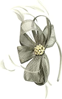 Elegance Collection Sinamay Headpiece Aliceband Fascinator in Silver