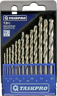 TASKPRO 13 PCS HSS-R Metric Twist Drill Bit Set for Drilling Metal (4130 Chromoly, Mild Steel, Aluminum), Wood, Plastic. Similar to DeWalt, Irwin, Milwaukee, Bosch, and Craftsman