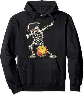 Dabbing Basketball Skeleton Pirate Cool Halloween Costume Pullover Hoodie
