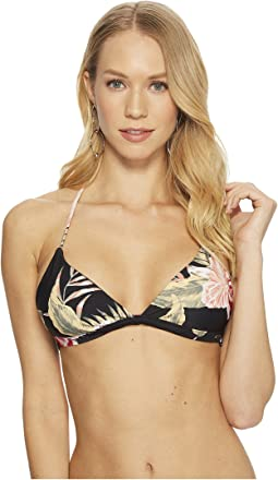 Roxy Print Strappy Love Reversible Fixed Triangle Bikini Top