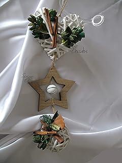 Ghirlanda Fuori Porta Addobbo di Natale in vimini e legno