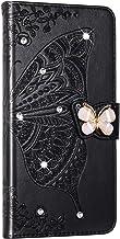 NSStar Beschermhoes voor Samsung Galaxy A50, met glitter, strass, glitter, leer, retro design, vlinder, magneetsluiting, z...