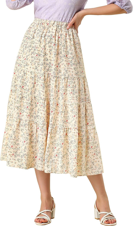 Allegra K High order Women's Floral Long Ruffle Tiered Skirts Waist Elastic 5 ☆ very popular
