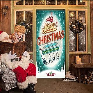 AKSBHC Carta da Parati Porta 3D, murale 95x215CM Cartone Animato Natale Vacanza Poster Soggiorno Camera da Letto Decorazio...