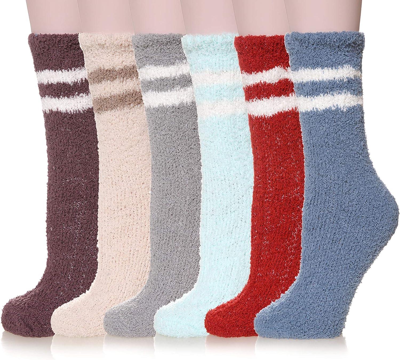 Women Plush Slipper Fuzzy Socks Soft Comfy Fluffy Microfiber Cozy Winter Warm Casual Crew Sleeping Home Socks