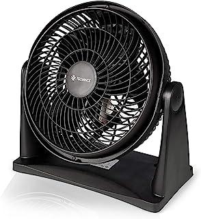 Tecvance TV-6633 Ventilador de Mesa o Pared Pequeño – 2 Velocidades – Potente – Ángulo de Inclinación Ajustable 90°, Negro, 1 unidad