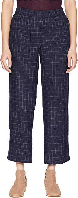 Tussah Silk Plaid Straight Ankle Pants