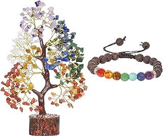 PYOR 7 Chakra Adjustable Bracelet Tree of Life Reiki Spiritual Crystal Healing Energy Stones Decor Good Luck Charms Gemsto...