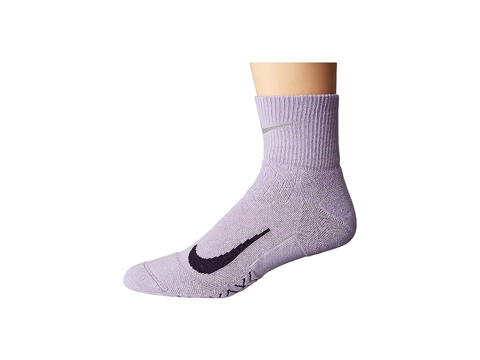 Nike Elite Cushion Quarter Running Socks (Hydrangeas/Purple Dynasty) Quarter Length Socks Shoes