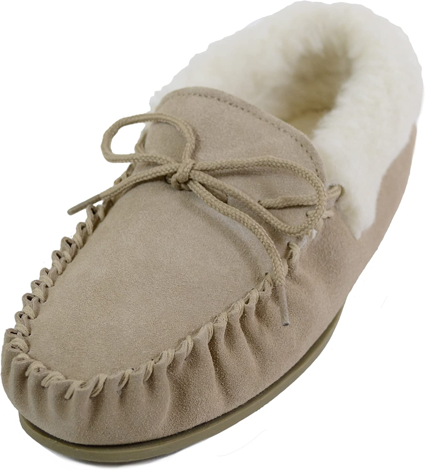SNUGRUGS Womens Wool Lined Moccasin Slippers with Rubber Sole & Wool Cuff