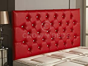 CROWNBEDSUK Diamante Faux Leather HEADBOARD (RED, 6FT)