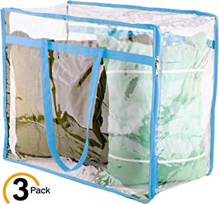 Wappa Home Clear Vinyl Zippered Storage Bags 18x15x9 Inch - Sturdy Storage Bags for Sweaters, Blankets, Comforters, Bedding Sets and Much More! (Light Blue, 18x15x9)