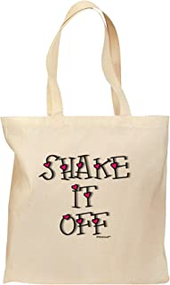 TooLoud Shake It Off Text Cute with Hearts Grocery Tote Bag - Natural