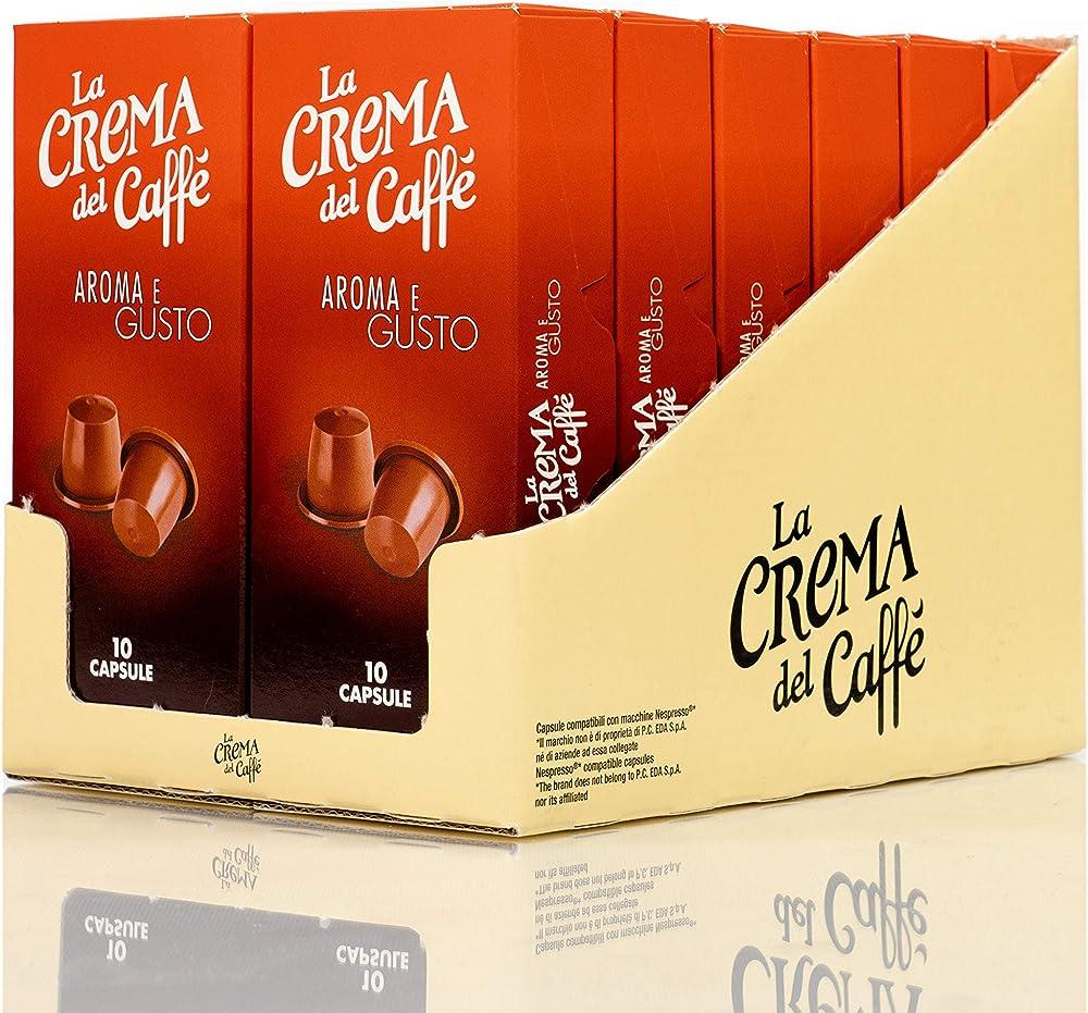 La crema del caffè, aroma e gusto, 12 astucci da 10 capsule, totale 120 capsule, compatibili nespresso