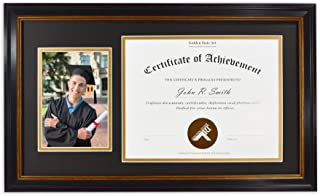 Golden State Art, Wall Hang 11x19.5 Certificate Frame with Real Glass, Color: Black Gold & Burgundy Color Frame. Includes Real Glass & a Double Mat (Black/Gold) for Diploma/Photo Size: 8.5x11 and 5x7