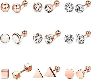 9 Pairs Stainless Steel Ball Stud Earrings Barbell CZ Cartilage Helix Ear Piercing Jewelry Set for Men Women