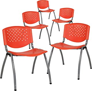 Flash Furniture 5 Pk. HERCULES Series 880 lb. Capacity Orange Plastic Stack Chair with Titanium Frame