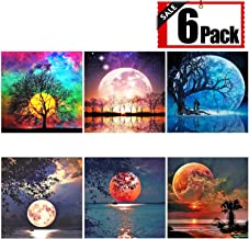 XPCARE 6 Pack 5d Diamond Painting Kits Full Drill Rhinestone Moon Diamond Dotz Pictures for Home Wall Decor